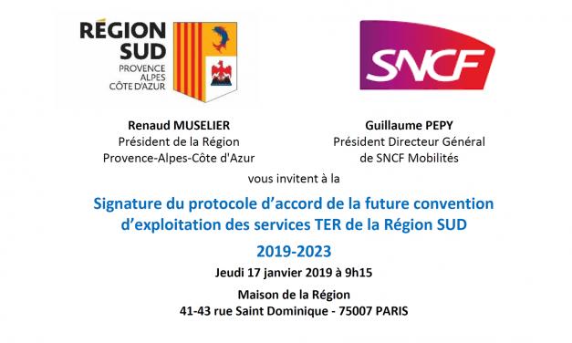 Signature du protocole d'accord de la future convention d'exploitation des services TER de la Région SUD